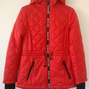 Michael Kors Quilted Zip Front Hoodie Jacket